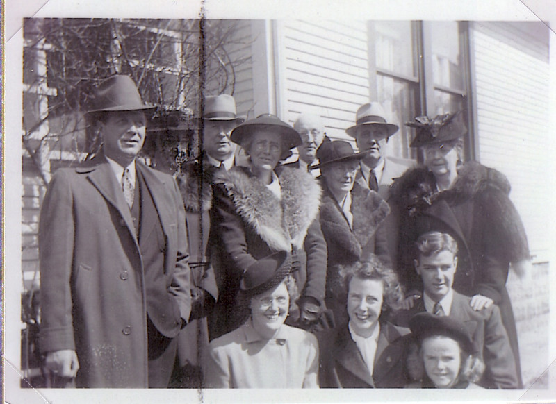 ?,?, Murdo, Annie,?,?, Uncle Malcom and Aunt Katherine Nicholson in back Stena?, Jean, Kenny, and ?