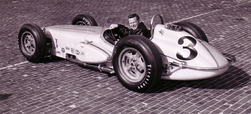 Johnny Thomson--The Flying Scot--in his car on the track at the Indy 500