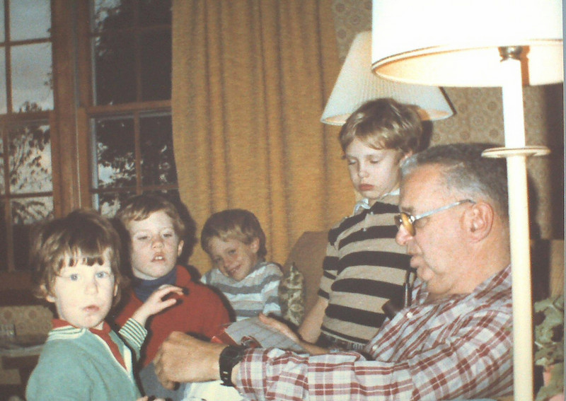Jackie, Matt, John J, John P w/Grandpa on Riverview Terrace