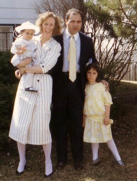The Tracosas Family on Easter visiting the Waltons in Chicago:  Willa, Beth (Johnston) Jon, and Leah