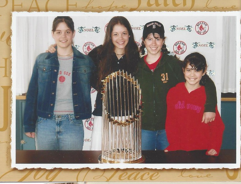 Picarelli girls with the World Series trophy