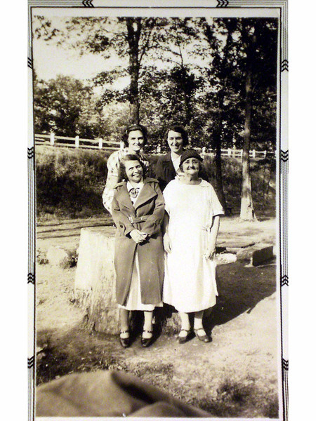 Back:  ?, Lillian<br /> Front:  Gladys & Ma Smith?