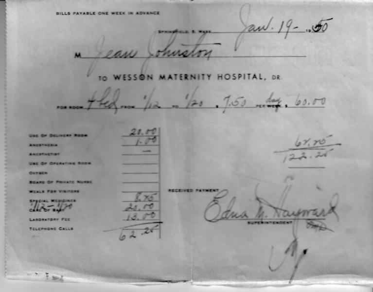 Bill for Lynn's birth