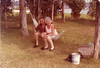 Jean & Doug Johnston in back yard of Pebble Beach Cottage 7/18/78 in Guilford, CT