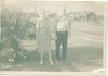 Grandma and Grandpa Nicholson in the yard in Suffield