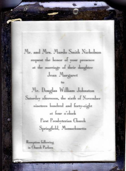 Jean Nicholson and Doug Johnston's wedding invitation