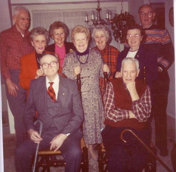 Paul Ingraham, Doris Dion, Ruth Nicholson, Katherine Siano, Ellie Ingraham, Marion Stewart, Kenny Nicholson--front row Wally Dion and Hy Stewart