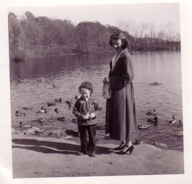 Lynn and Jean feeding the ducks