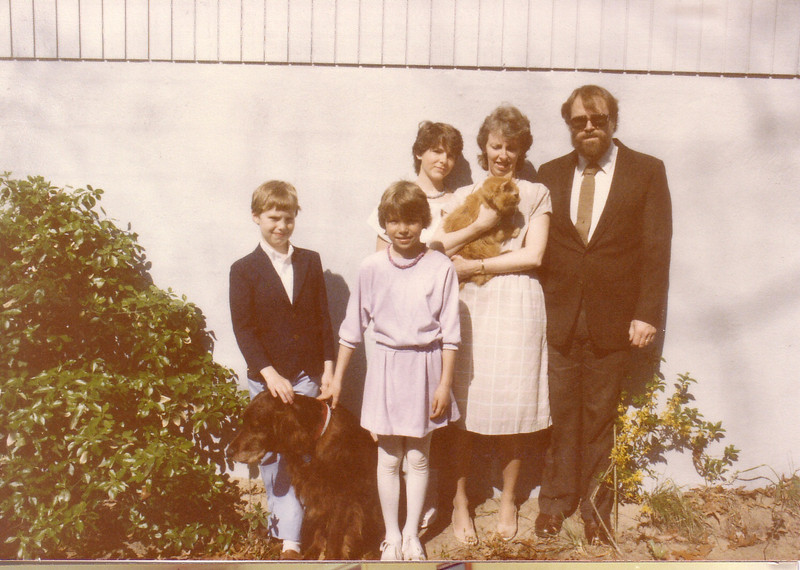 The Walton Famiily Easter in MD 1984 with Casey and Whiskey:  John, Emily, Kymber, Lynn and Bill