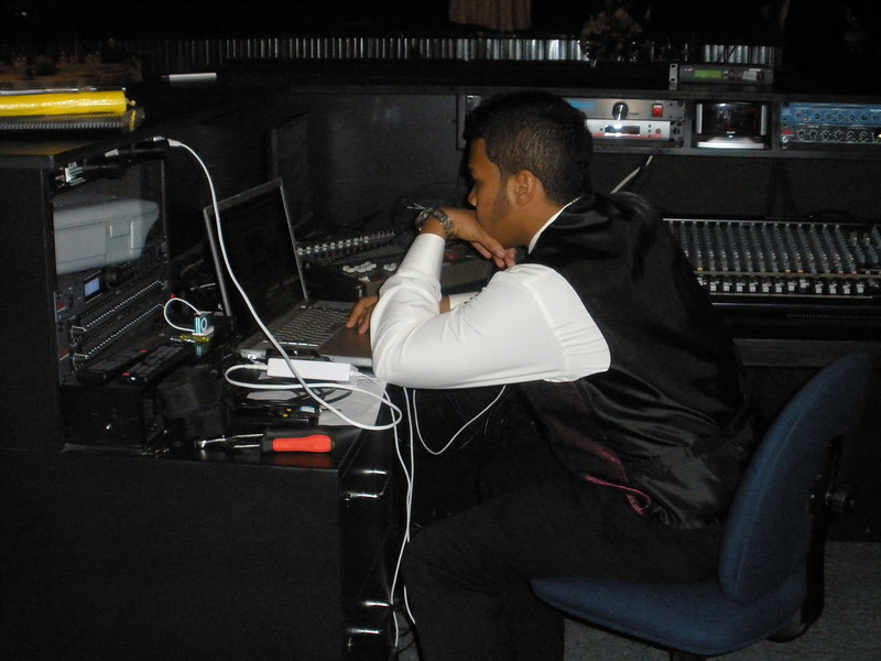 Shane - setting up the music for the night
