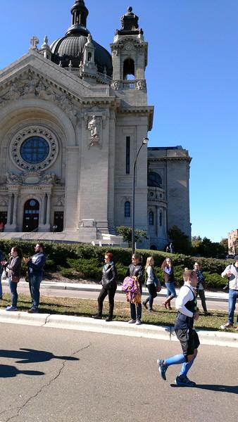 Vadis (grandma) and Julie (Mom) waiting at St. Paul Cathedral - 26 miles