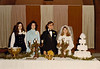 DOUG AND KAREN DUNCAN'S WEDDING<br /> St John's Episcopal Church, Fort Worth, Texas - January 22, 1972<br /> <br /> The smorgasbord table. Doy's girlfriend Paula, an unidentified girl, Doug, and Karen.
