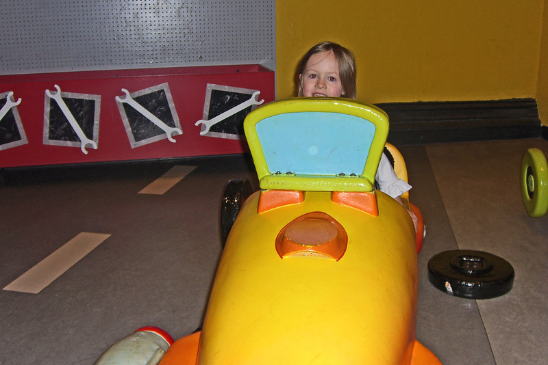 Girl in racing car