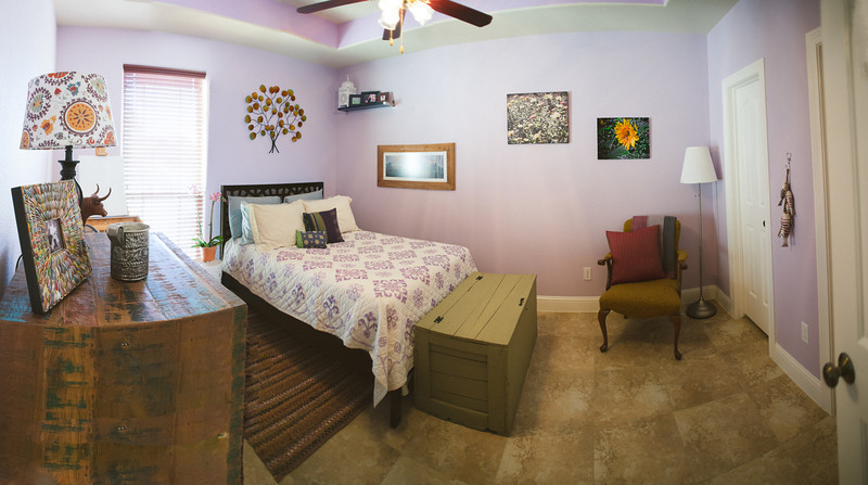 """A panoramic of the guest room.   Merge of 4 photos...the room doesn't really """"sink"""" to the middle. :)"""