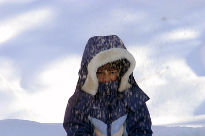 In the meantime Anisa and I played in the snow.  The trail was by a water reservior.