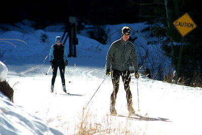 Rich and Tanya went skate skiing.  It is sort of like roller blading on skis.