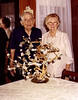 DORIS AND GRACE COOK'S 60TH WEDDING ANNIVERSARY<br /> Dallas, Texas - 1980<br /> <br /> Doris and Grace Cook on their 60th wedding anniversary in Dallas, Texas. Nothing says 60 years together like a money tree.