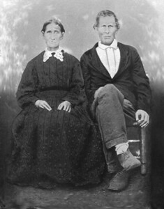 BETTIE ELIZABETH (BUMGARDNER) AND ELIJAH BULLION This is a tintype photo taken in the late 1800s of the brother of Mariah Bullion (Thomas Jefferson Duncan's wife) and his wife.