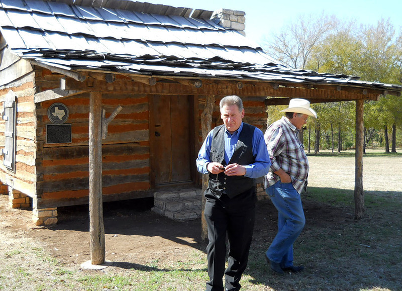 AT SAMUEL MATHER'S CABIN<br /> Old Settlers' Village, Round Rock, Texas - October 2011<br /> <br /> I was so glad Vic got to see Samuel's cabin while he was here. Vic's the Mather Family genealogist Down Under.