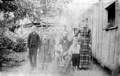 JESSE JOHN DODSON AND FAMILY - c.1890  L to R:  Jesse Lee Dodson (1879-1948) Mary Elizabeth Dodson (1882-1947) Benjamin Franklin Dodson (1884-1941) Jesse John Dodson (1854-1894) Wiley Elbert Dodson (1887-1950) Mary Jane Judkins Dodson (1859-1899)  It should be noted here that this Benjamin Franklin Dodson is not our direct ancestor [or mine, anyway], the Benjamin Franklin Dodson (1846-1927) who married Easter Isabell Curtis. This Benjamin Franklin is his nephew. Isn't genealogy fun?