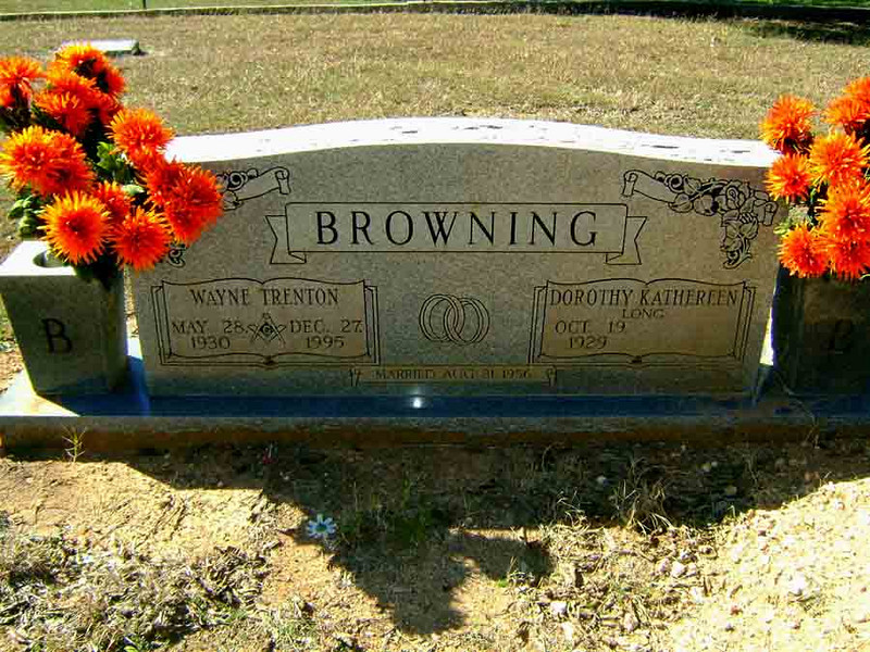 BROWNING, WAYNE TRENTON and DOROTHY KATHEREEN (LONG)<br /> Mather Family Cemetery, Liberty Hill, Texas<br /> <br /> Wayne Trenton Browning: Aug 31, 1926 - Dec 27, 1995<br /> Dorothy Kathreen (Long) Browning: Oct 19, 1929 - Jul 26, 2008<br /> <br /> [Dorothy has passed away since this photo was taken]