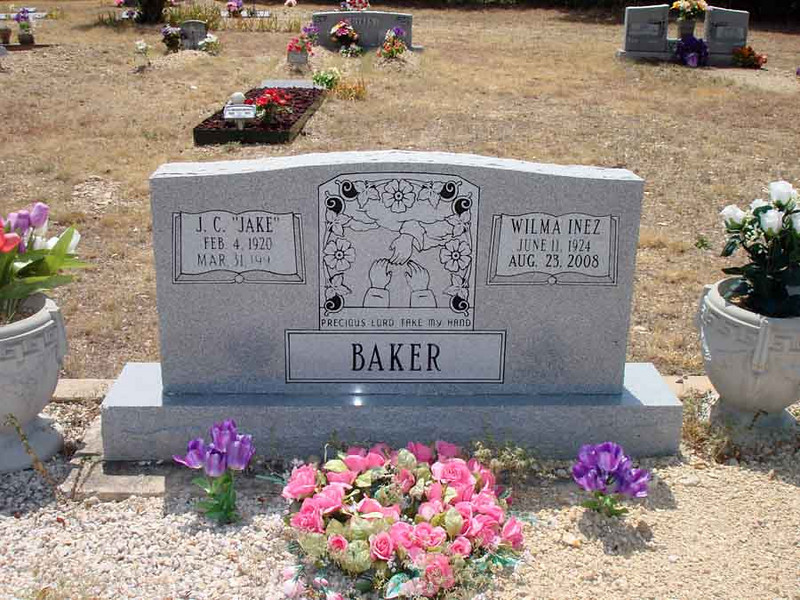 "BAKER, J.C. ""JAKE"" and WILMA INEZ<br /> Williams-Buck Cemetery, Liberty Hill, Texas"