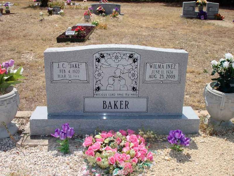 "BAKER, J.C. ""JAKE"" and WILMA INEZ<br /> Williams-Buck Cemetery, Liberty Hill, Texas"