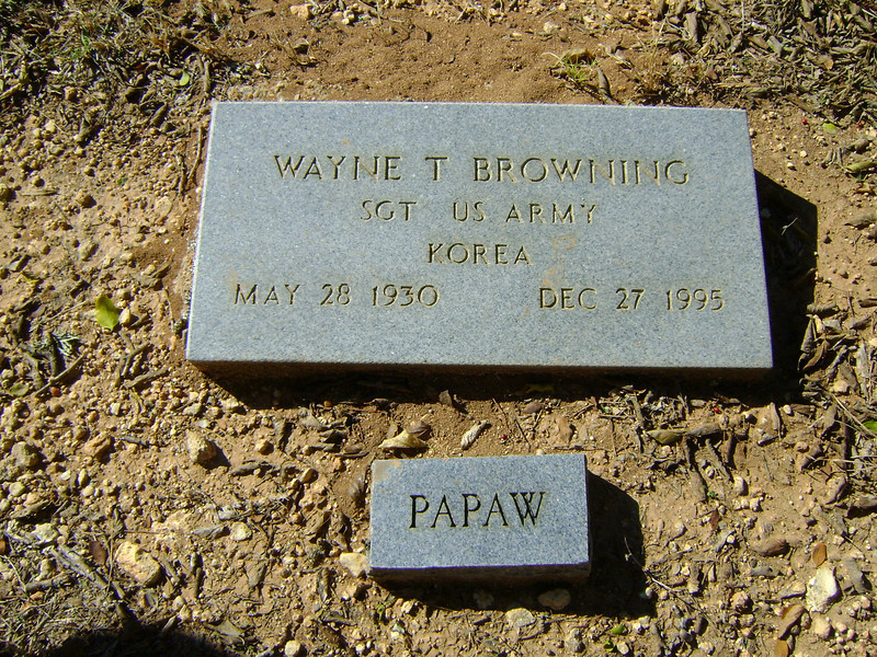 BROWNING, WAYNE TRENTON - SERVICE STONE<br /> Mather Family Cemetery, Liberty Hill, Texas