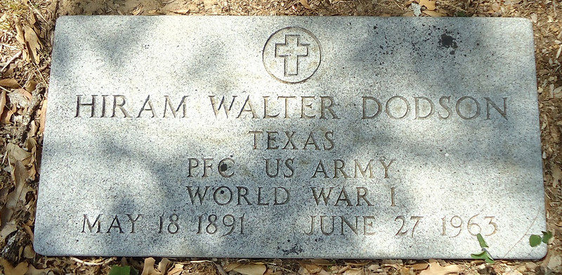 DODSON, HIRAM WALTER - SERVICE STONE<br /> Telico Cemetery, Ennis, Texas