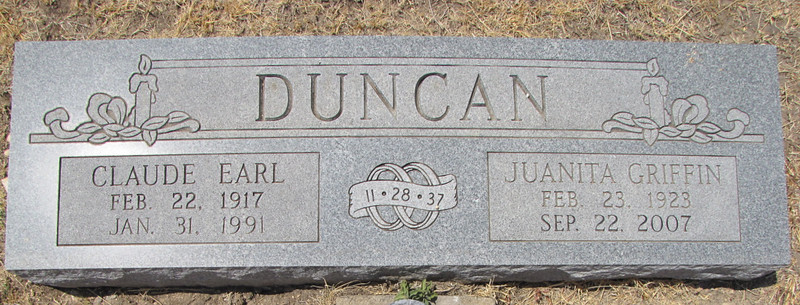 DUNCAN, CLAUDE EARL and JUANITA (GRIFFIN)<br /> Killeen City Cemetery, Killeen, Texas