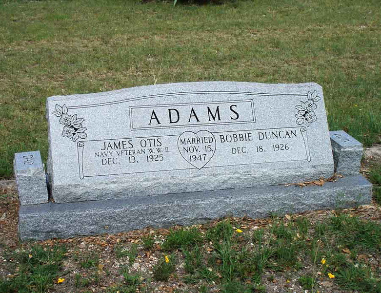 ADAMS, JAMES OTIS [living] and BOBBIE (DUNCAN) [living]<br /> Payne Gap Cemetery, Star, Texas