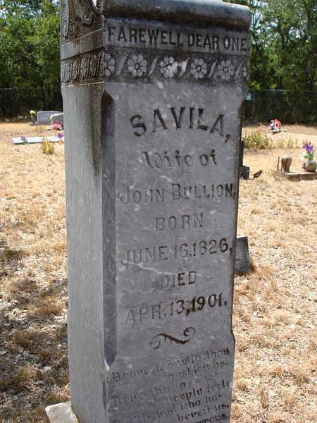 BULLION, SAVILA<br /> Williams-Buck Cemetery, Liberty Hill, Texas