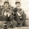l. to R. Robert E Dungan unknown Princess's puppies c. 1957