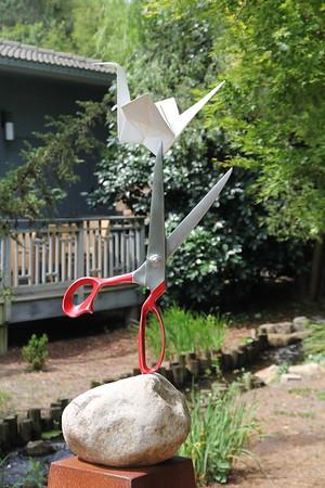 "Melanie's favorite ""Origami in the Garden"" at Ginter Gardens - ""Rock, Paper, Scissors"""