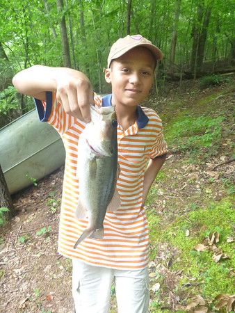 Edward caught this fish at the Piney Mountain pond - Ed cooked it and Edward said he liked it