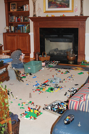 Aaron's favorite indoor activity (all his Dad legos)
