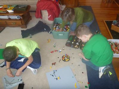 sorting legos using muffin pans