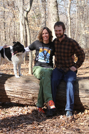 Bessie, Cat & Drew hiking at the Triangle Land Conservancy 2/12