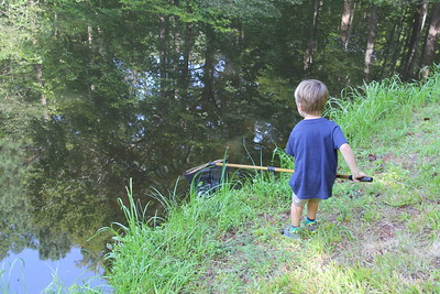 boy fun at the Piney Mountain pond