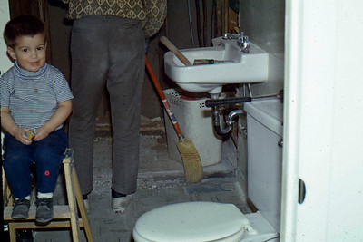 1969 - Bathroom remodel - Randy on the stool