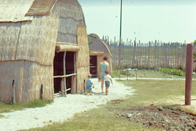1971-06 - Jamestown VA Indian dwellings - Jeff, Jo, Randy