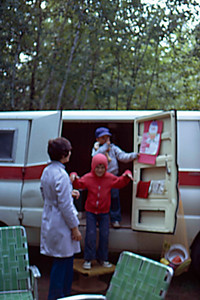1974-09 - Camping at Hinkley State Park, MN - Jo, Randy, Jeff - Our first (converted) camping van