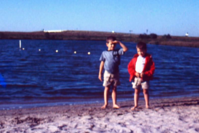 1973-09 - Randy and Jeff at beach in Nebraska