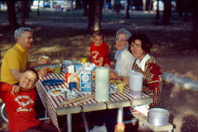 1973-09 - Randy, Opal, Jo - Camping at Lake Oakwood, SD