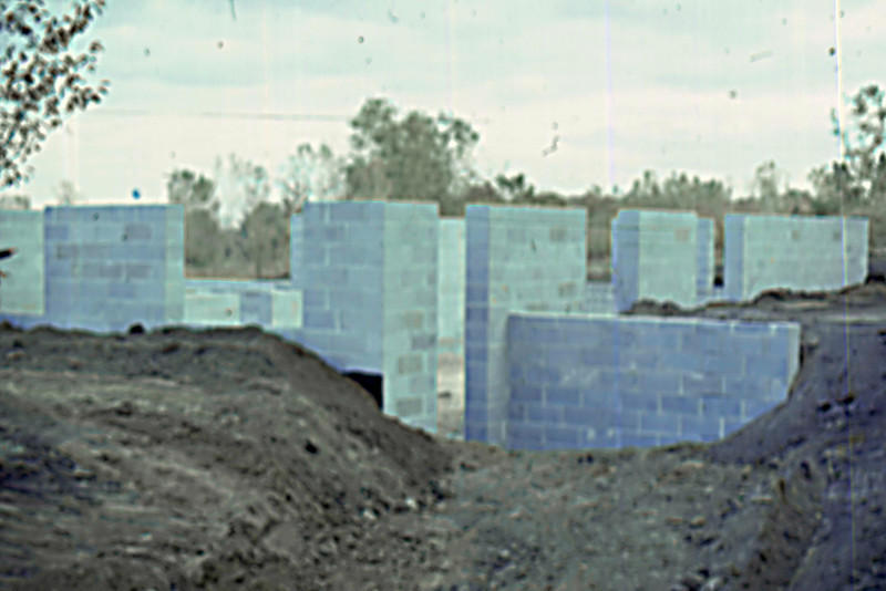 1974-10 - Block walls from SW corner after back-fill