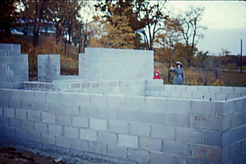 1974-10 - Block walls from garage (SE) corner