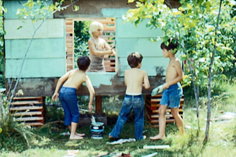 1976-07 - Mike Lynch inside, Jeff, Jon Eide, Randy - Painting SWAT HQ