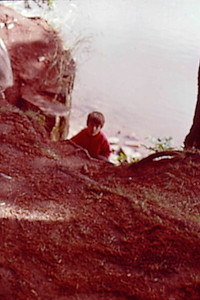 1975-08 - Randy climbing bank of St Croix River