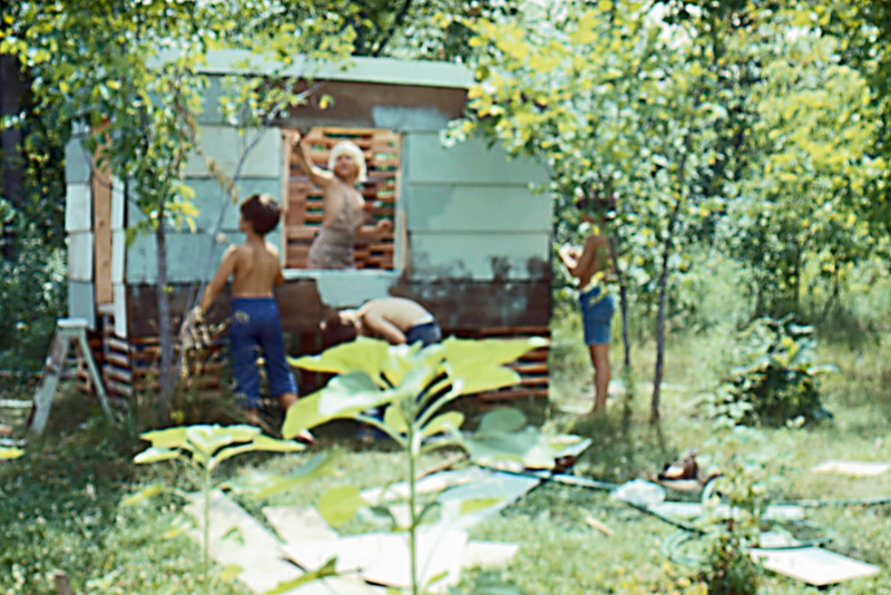 1976-07 - Mike Lynch inside, Jeff, Jon Eide, Randy - Painting SWAT HQ