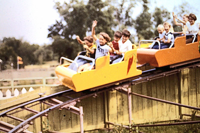 1977 - Valley Fair - Jeff and Randy on roller coaster